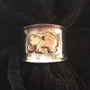 Jewelry - Sterling Silver & 18k Gold 6.5 Elephant Cigar Ring